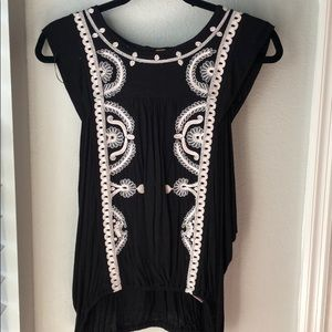 Free People Embroidered Open Sides Top
